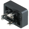 GSN DIN Standard Receptacle: Form B, 3-pin (2+1PE), UL 1977, black contact bearer, solder type (PE screw type); 230 V AC/DC, 16 A -- GSN 20 -Image