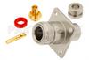N Female Connector Clamp/Solder Attachment 4 Hole Flange For PE-SR402AL, PE-SR402FL, RG402, .718 inch Hole Spacing -- PE44072 -Image