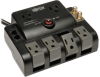 6 Outlets, 6ft Cord, 1440 Joules, 1-line Rotating Gold Coaxial 1-line Tel/modem Protection - Surge Suppressor -- TLP606RNET - Image