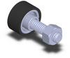 Press-Fit Style Roller - Stud Mount - 95 Dur - .75 in Dia X .38 in Width - 1/4-20 Thread -- PR-182410-95UR-06C