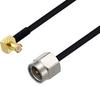 MCX Plug Right Angle to SMA Male Cable 12 Inch Length Using PE-SR405FLJ Coax -- PE3W07396-12 -Image