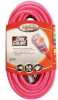 COLEMAN CABLE 12/3 50' SJTW Neon Cool Pink Extension Cord -- Model# 02578