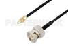 BNC Male to SSMC Jack Bulkhead Cable 36 Inch Length Using PE-SR405FLJ Coax -- PE3C4488-36 -- View Larger Image