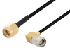 SMA Male to SMA Male Right Angle Cable 150 cm Length Using PE-SR405FLJ Coax -- PE3W03751-150CM -Image