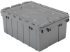 Akro-Mils 39085 Attached Lid Container Plastic Storage and Distribution Tote with Hinged Lid - 21.5