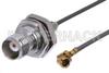 TNC Female Bulkhead to UMCX Plug Cable 12 Inch Length Using RG178 Coax -- PE38304-12 -Image