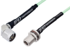 N Male Right Angle to N Female Bulkhead Low Loss Cable 12 Inch Length Using PE-P142LL Coax, RoHS -- PE3C0673-12 -Image