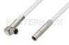 75 Ohm Mini SMB Plug to 75 Ohm Mini SMB Plug Right Angle Cable 36 Inch Length Using 75 Ohm PE-B159-WH White Coax -- PE38140/WH-36 -Image