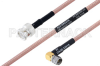 MIL-DTL-17 BNC Male to SMA Male Right Angle Cable 12 Inch Length Using M17/60-RG142 Coax -- PE3M0006-12 -Image