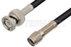 Reverse Polarity SMA Male to BNC Male Cable 12 Inch Length Using RG58 Coax -- PE35207-12 -Image