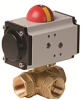 Pneumatically Actuated 3-Way Brass Ball Valve -- PYHG Series