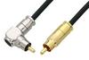 75 Ohm RCA Male to 75 Ohm RCA Male Right Angle Cable 12 Inch Length Using 75 Ohm PE-B159-BK Black Coax -- PE38134/BK-12 -Image