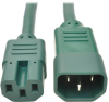 IEC C14 to IEC C15 Power Cable - Heavy Duty, 15A, 250V, 14 AWG, 3 ft., Green -- P018-003-AGN