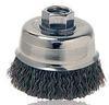 Dynabrade Steel Cup Brush - Arbor Attachment - 3 in Diameter - 3/8-24 UNF Center Hole - 0.014 in Bristle Diameter - 78813 -- 616026-78813