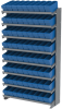 Akro-Mils APRS 400 lb Blue Gray Powder Coated Steel 16 ga Single Sided Fixed Rack - 36 3/4 in Overall Length - 72 Bins - Bins Included - APRS142 BLUE -- APRS142 BLUE - Image