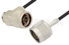 N Male to N Male Right Angle Cable 36 Inch Length Using RG174 Coax, RoHS -- PE34205LF-36 -Image