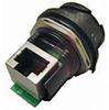 connector,plastic circular,jam nut recept,reverse bayonet,rt angle rj45,black -- 70026548