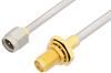 SMA Male to SMA Female Bulkhead Cable 18 Inch Length Using PE-SR402AL Coax -- PE34252-18 -Image