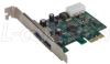 USB 3.0 Dual Port PCI Express Card -PCI Low Profile -- USB-PCI-3.0