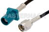 SMA Male to Water Blue FAKRA Plug Cable 12 Inch Length Using PE-C100-LSZH Coax -- PE39342Z-12 -Image