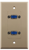 Construct Pro™ Dual VGA Wall Plate-Pass Through (Ivory) -- CON3081I