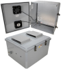 18x16x10 Polycarbonate Weatherproof Outdoor IP24 NEMA 3R Enclosure, 120 VAC MNT PLT, Solid State Thermostat Fan DKGY -- TEPC181610-10FS -Image