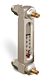 """Aluminum Liquid Level Gage with Card Thermometer and Shut-off, 4"""" Centerline, 1/4"""