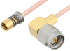 Snap-On BMA Jack to SMA Male Right Angle Cable 60 Inch Length Using RG405 Coax -- PE3C4886-60 -Image