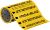 Brady B-946 Black on Yellow Vinyl Self-Adhesive Pipe Marker - 8 in Height - 30 ft Length - Printed Msg = HYDROCHLORIC ACID with Left Arrow - 41557 -- 754476-41557