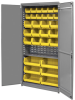 Akro-Mils 1000 lb Gray Yellow Powder Coated Steel 18 ga Non-Stackable Bin Cabinet - 36 in Overall Length - 18 in Width - 78 in Height - 12 Drawer - 30 Bins - Lockable - AC3618KD1ASY -- AC3618KD1ASY - Image