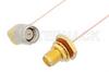 SMA Male Right Angle to SMA Female Bulkhead Cable 24 Inch Length Using PE-020SR Coax, RoHS -- PE34309LF-24 -Image