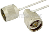 N Male to N Male Right Angle Semi-Flexible Precision Cable 18 Inch Length Using PE-SR405FL Coax, LF Solder, RoHS -- PE39445-18 -- View Larger Image