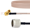 N Male to RA SSMC Plug Cable RG316 Coax in 12 Inch -- FMCA1475-12 -Image