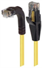 Category 6 Right Angle RJ45 Ethernet Patch Cords - Straight to RA (Down) - Yellow, 20.0Ft -- TRD695RA1Y-20 -Image