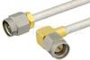 SMA Male to SMA Male Right Angle Semi-Flexible Precision Cable 9 Inch Length Using PE-SR402FL Coax, RoHS -- PE39425-9 -Image