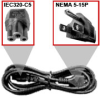 IEC 320-C5 (3 Round Prongs In Triangle) To NEMA 5-15P (Stand