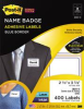 3M SUPER STICKY NAME BADGE LABELS, 2-1/3 X 3-3/8, BLUE BORDER, 400/PACK -- 10147661