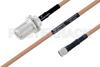 MIL-DTL-17 N Female Bulkhead to SMA Male Cable 30 Inch Length Using M17/128-RG400 Coax -- PE3M0076-30 -Image