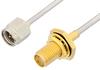SMA Male to SMA Female Bulkhead Cable 48 Inch Length Using PE-SR405AL Coax -- PE34254-48 -Image