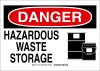 Brady B-302 Polyester Rectangle White Chemical, Biohazard, Hazardous & Flammable Material Sign - 10 in Width x 7 in Height - Laminated - TEXT: DANGER HAZARDOUS WASTE STORAGE - 131759 -- 754473-82403