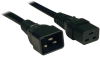 C19 to C20 Heavy-Duty Extension Cord - 15A, 250V, 14 AWG, 3 ft., Black -- P036-003-15A