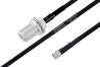 MIL-DTL-17 N Female Bulkhead to SMA Male Cable 18 Inch Length Using M17/84-RG223 Coax -- PE3M0048-18 -Image