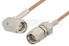 SMA Male to SMA Male Right Angle Cable 6 Inch Length Using RG178 Coax, RoHS -- PE3865LF-6 -Image