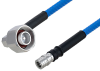 Plenum 4.1/9.5 Mini DIN Male Right Angle to QMA Male Low PIM Cable 36 Inch Length Using SPP-250-LLPL Coax , LF Solder -- PE3C5850-36 -- View Larger Image