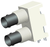 50 OHM DUAL PORT BNC R/A JACK, ISOLATED WHITE -- 031-6576 - Image