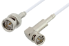 75 Ohm BNC Male to 75 Ohm BNC Male Right Angle Cable 36 Inch Length Using 75 Ohm RG187 Coax, RoHS -- PE33414LF-36 -Image