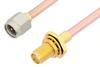 SMA Male to SMA Female Bulkhead Cable 12 Inch Length Using RG402 Coax -- PE3825-12 -Image