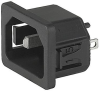 IEC Appliance Inlet C18, Snap-in Mounting, Front Side, Solder or Quick-connect Terminal -- 6102-5 -Image