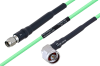 Temperature Conditioned SMA Male to N Male Right Angle Low Loss Cable 36 Inch Length Using PE-P160LL Coax -- PE3M0188-36 -Image