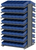 Akro-Mils 1800 lb Blue Gray Powder Coated Steel 16 ga Double Sided Fixed Rack - 36 3/4 in Overall Length - 96 Bins - Bins Included - APRD18168 BLUE -- APRD18168 BLUE - Image